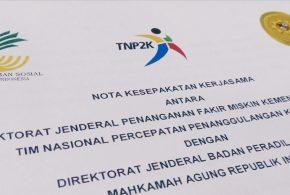 Dirjen Badilag Teken Nota Kesepakatan Kerjasama dengan Kementrian Sosial dan TNP2K: Layanan Pembebasan Biaya Perkara akan Semakin Mudah